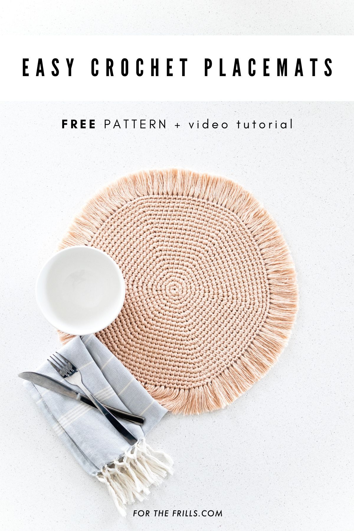Easy Crochet Placemats with Fringe – free pattern + video tutorial – for the frills – Manualidades :)