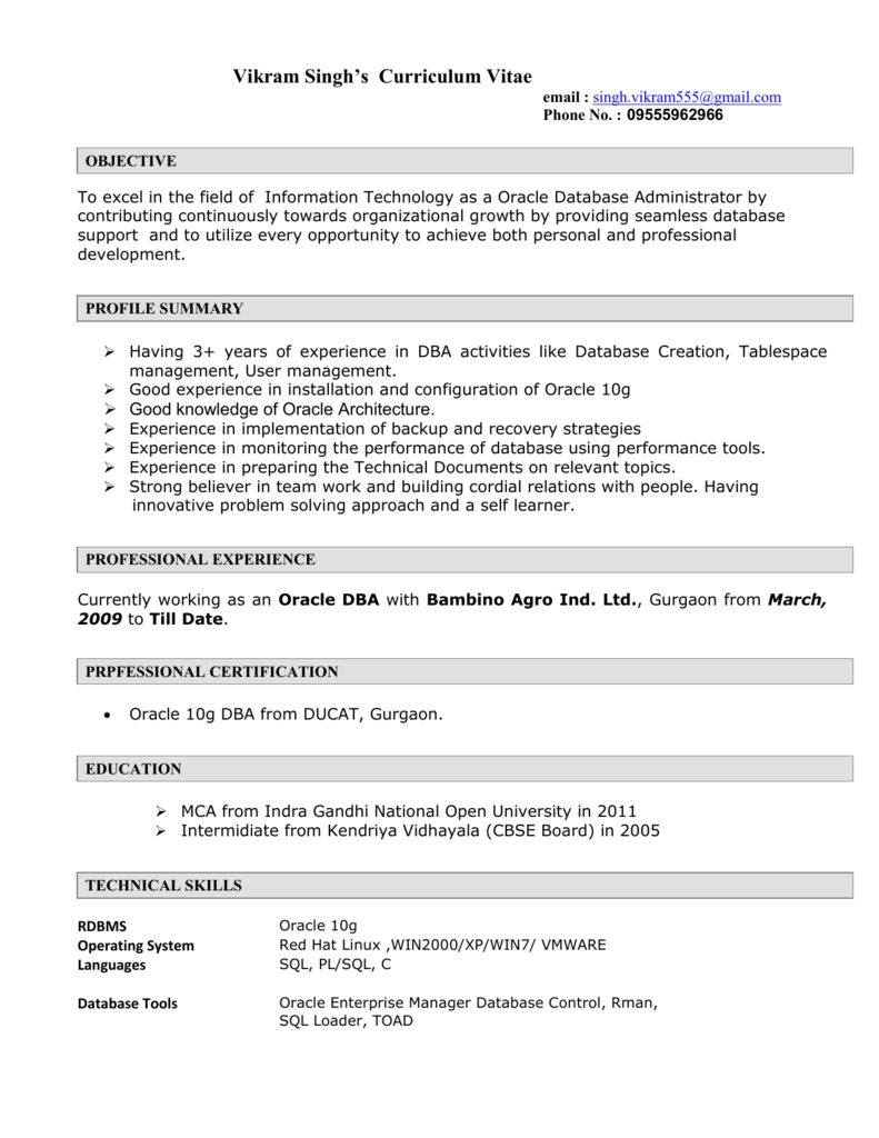Oracle Dba Resume 2021 Personal And Professional Development Oracle Dba Resume Examples