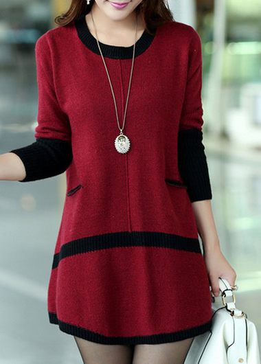 Pocket Design Long Sleeve Red Mini Sweater Dress | lulugal.com ...