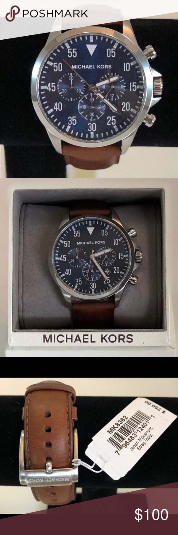 776a75380 Michael Kors Men's Gage Brown Leather Strap Watch MICHAEL KORS MK-8362  CHRONOGRAPH 24 HOURS