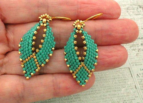 "RUSSIAN LEAF EARRINGS   15/0 seed beads Miyuki ""Duracoat Gold"" (4202)  8/0 seed beads Miyuki ""Duracoat Gold"" (4202)  11/0 Miyuki Delica..."