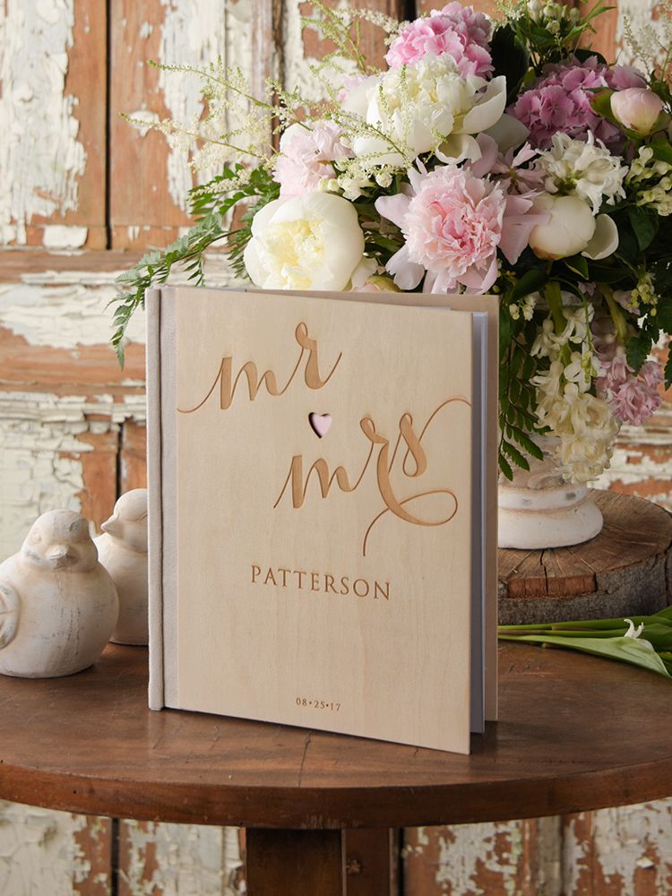 Rustic country laser cut wood wedding guest book @4LOVEPolkaDots ...