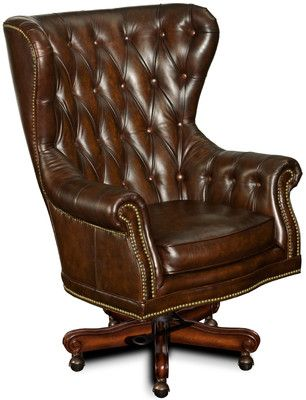Leather Executive Office Chair With Arms Governors Genuine Brown Desk