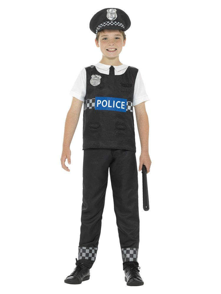 Boys Police Shirt Costume Childs Cops Policeman Uniform Fancy Dress Outfit