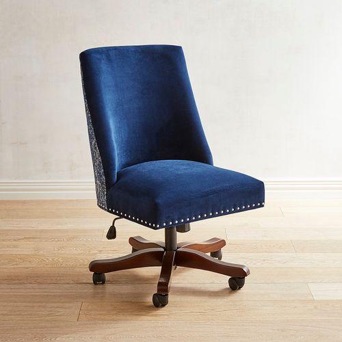 Corinne Indigo Desk Chair F R Desk Chair Overstuffed