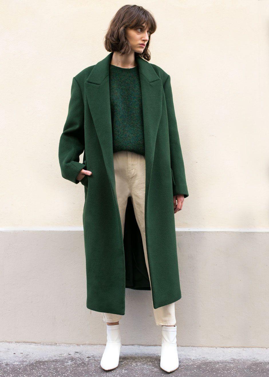 Contrast collar green wool coat green aqua contrast collar and aqua