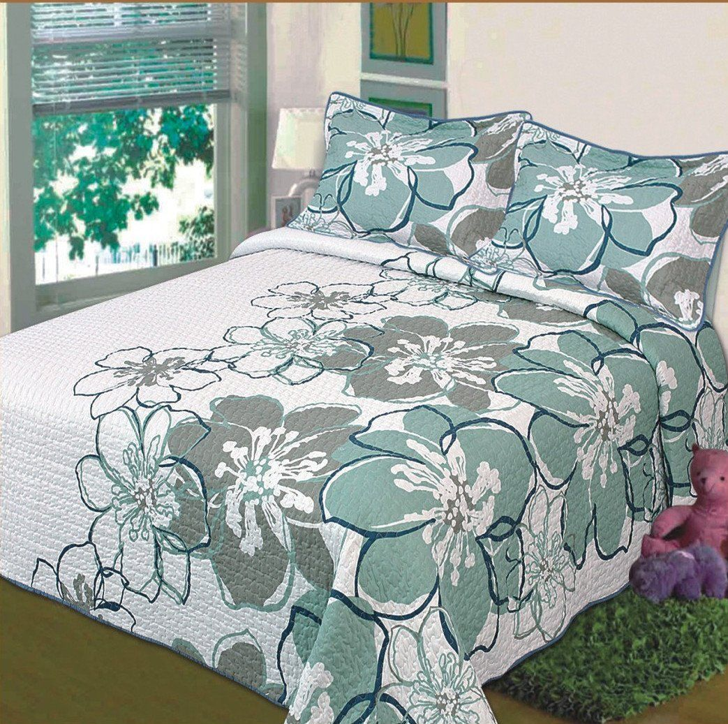 Simple Design is important with White Grey Green Floral Bedspread Bed Cover  and Grey Window Blind. Simple Design is important with White Grey Green Floral Bedspread
