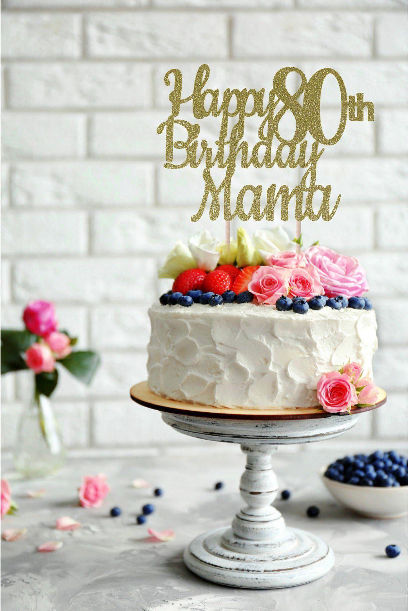 ANY NAME Happy 80th Birthday Cake Topper Custom