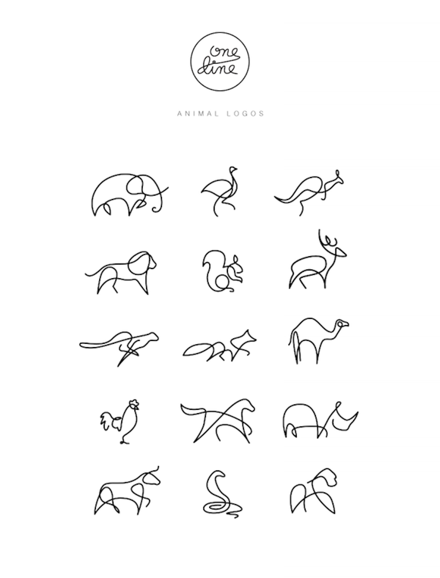 Line Drawing Numbers : Animals drawn with a single line in graphic design