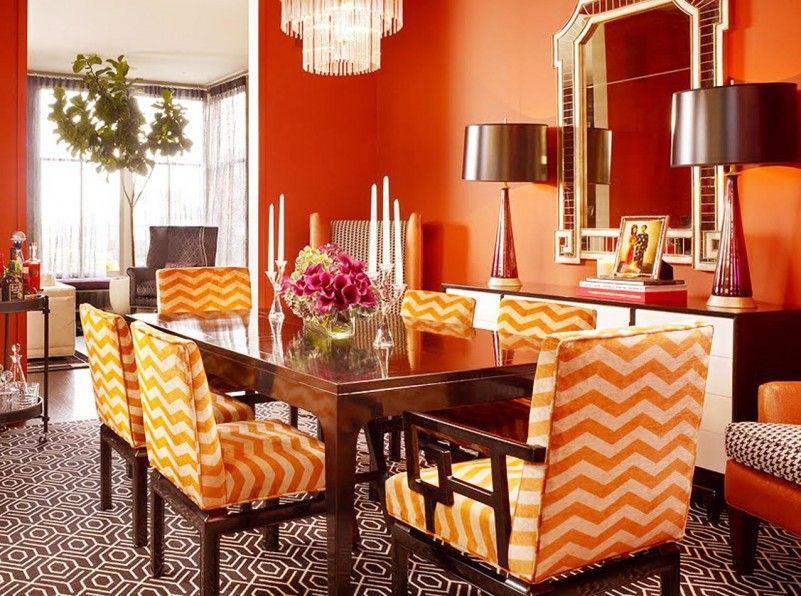 Bright Orange Paint bright orange paint color interior design with striped dining