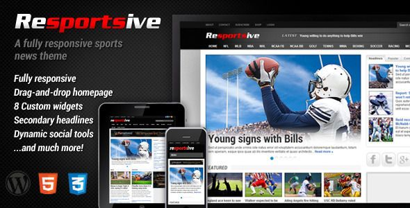 Resportsive is a responsive (sports) news WordPress theme with a ...