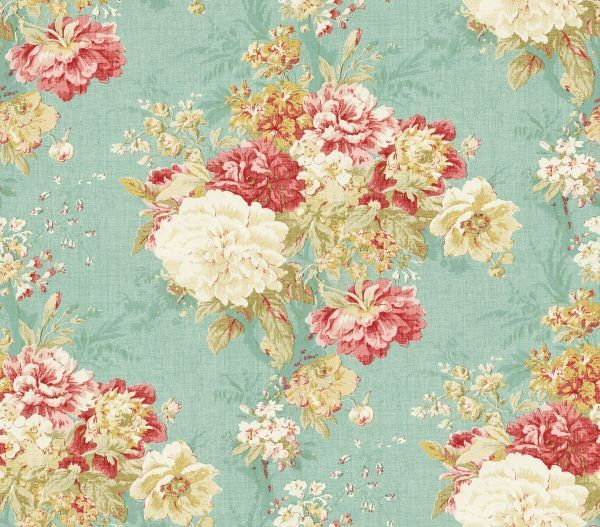 Ballad bouquet robins egg waverly waverly fabrics for Waverly wallpaper