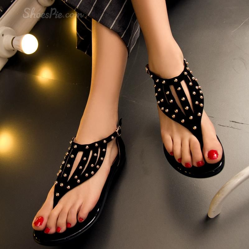 726e816c242 Shoespie Rivet Thong Flat Sandals
