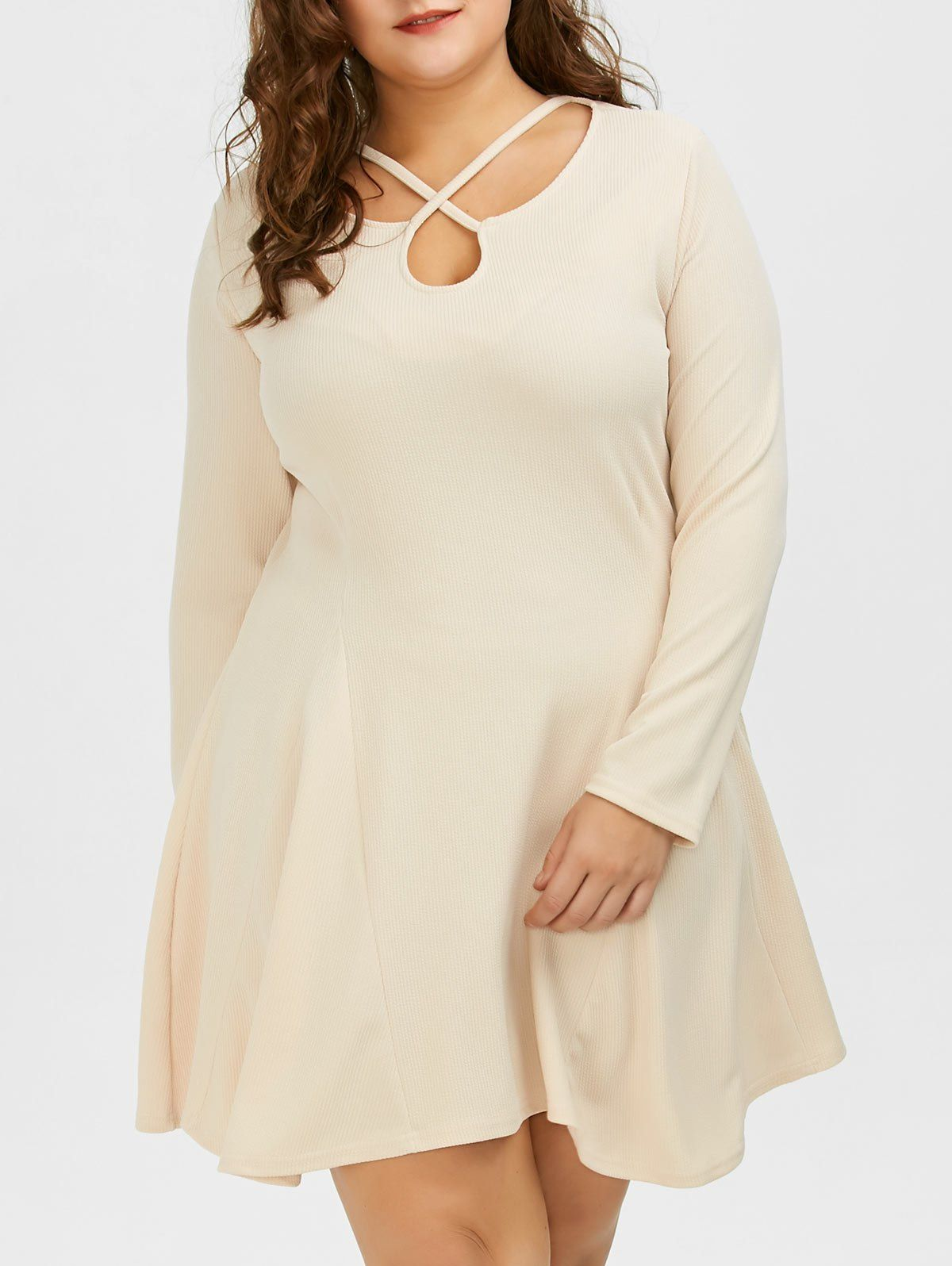 Plus Size Long Sleeve Skater Cutout Dress