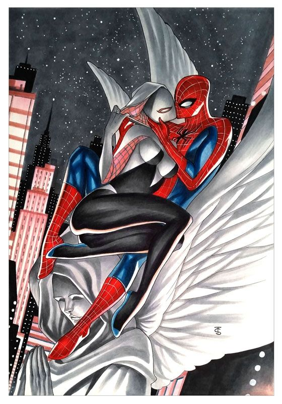 #Spiderman #Fan #Art. (Spider-Man & Spider-Gwen) By: Thony Silas. (THE * 5 * STÅR * ÅWARD * OF: * AW YEAH, IT'S MAJOR ÅWESOMENESS!!!™)[THANK Ü 4 PINNING!!!<·><]<©>ÅÅÅ+(OB4E)