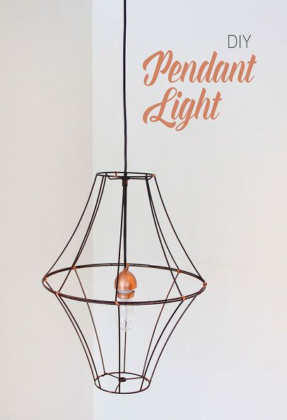 Diy lampshade pendant light diy lampshade light crafts and clever diy pendant light with old wire lampshades spray paint and simple light kit greentooth Choice Image