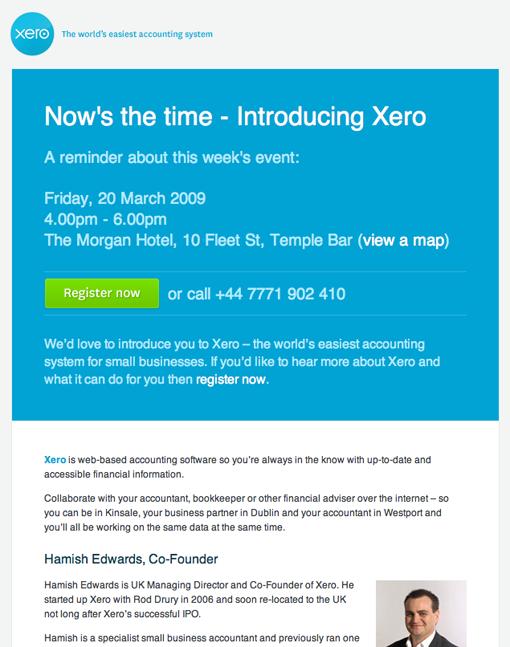 Xero Invitation - Campaign Monitor | Email Design - Invitations ...