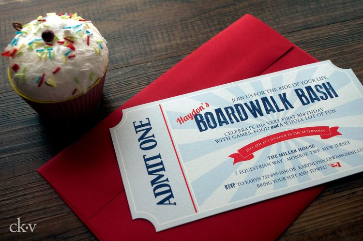 vintage boardwalk ticket invitation
