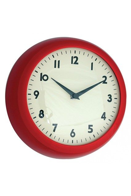 Red Retro Kitchen Wall Clock This Bargain 50s Style Also Comes In Cream