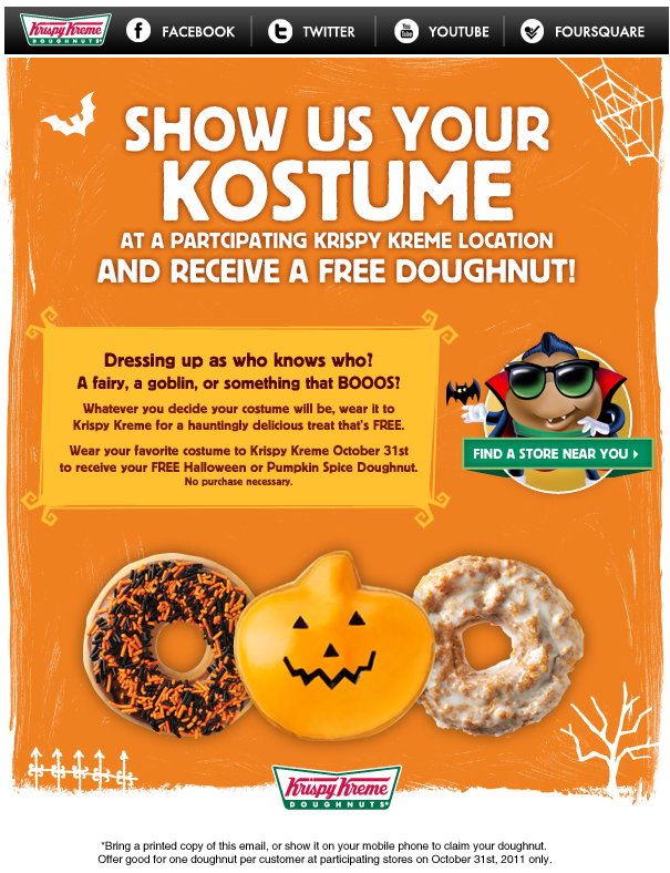 Come in costume for a free doughnut Halloween at Krispy