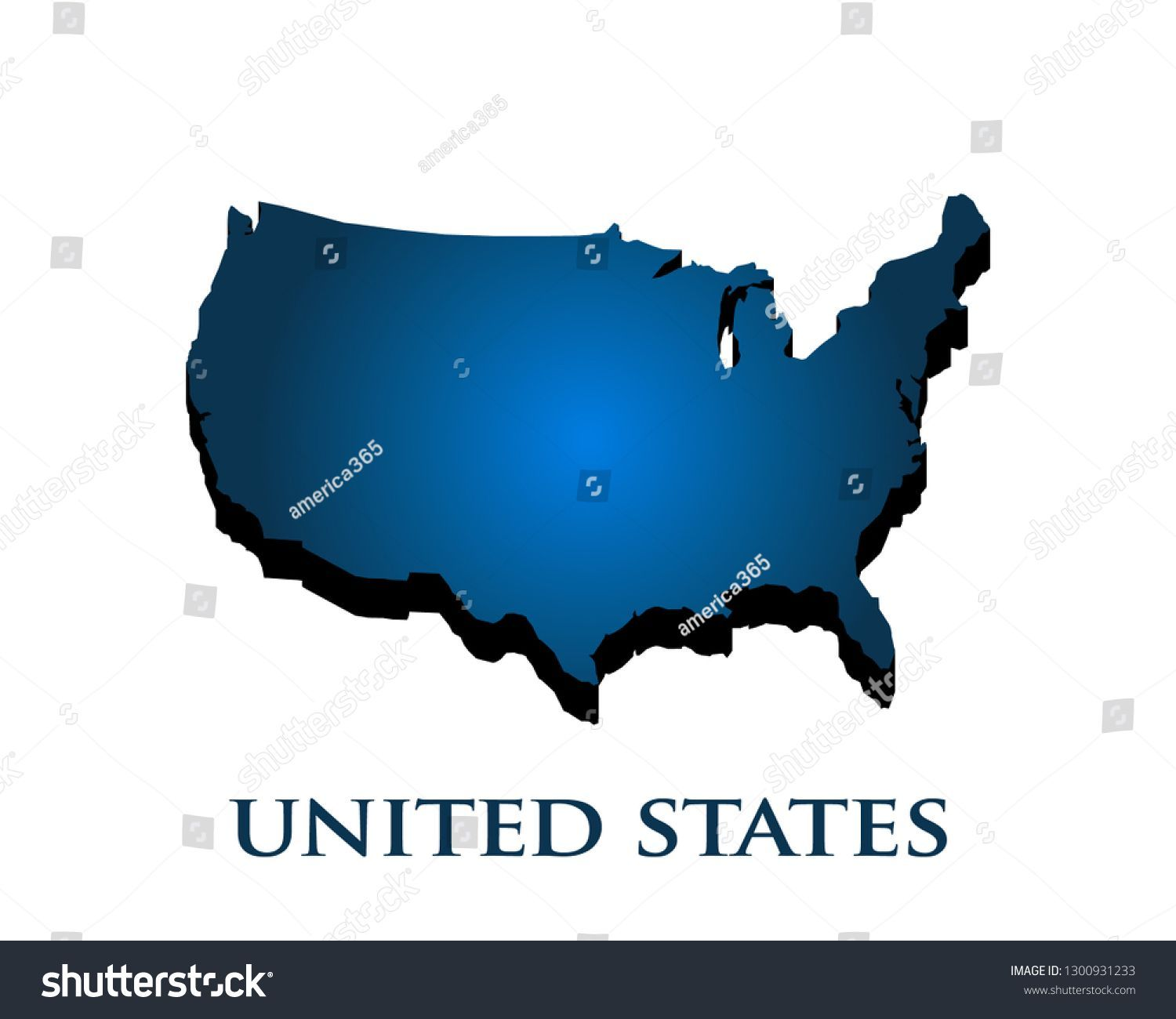 Map Of America 3d Vector.United States Country 3d Map Vector Illustration Map United