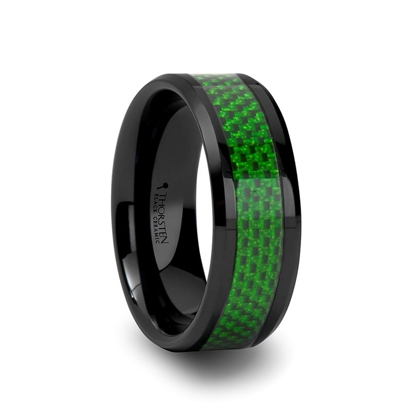 Men S Fashion Ring In Tungsten With Green Carbon Fiber Inlay