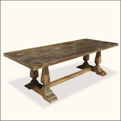Rustic Solid Wood Double Baluster Trestle Pedestal Dining Table Rustic Dining Room Reclaimed Dining Table Distressed Dining Table