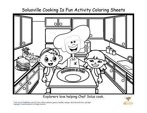 cooking safety tips for kids coloring sheets  Chef Solus Fun