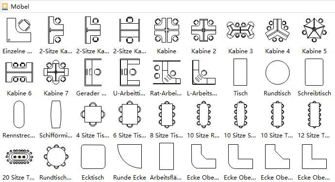 m bel gebrauchsfertige symbole f r bauplan grundriss. Black Bedroom Furniture Sets. Home Design Ideas