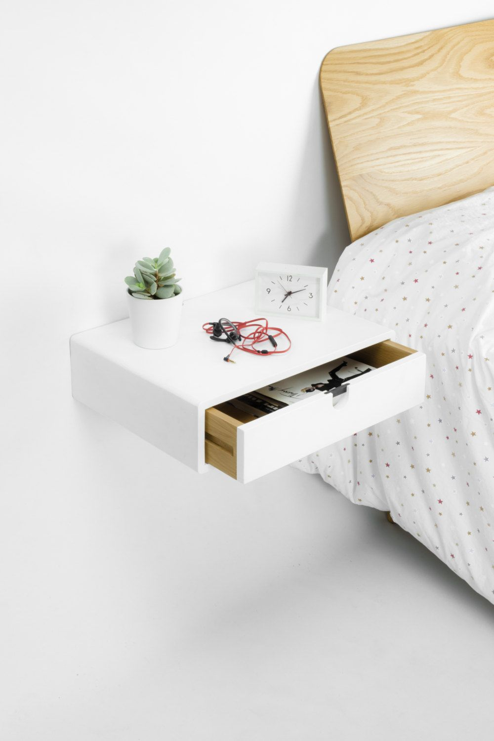 Floating White nightstand Bedside Table