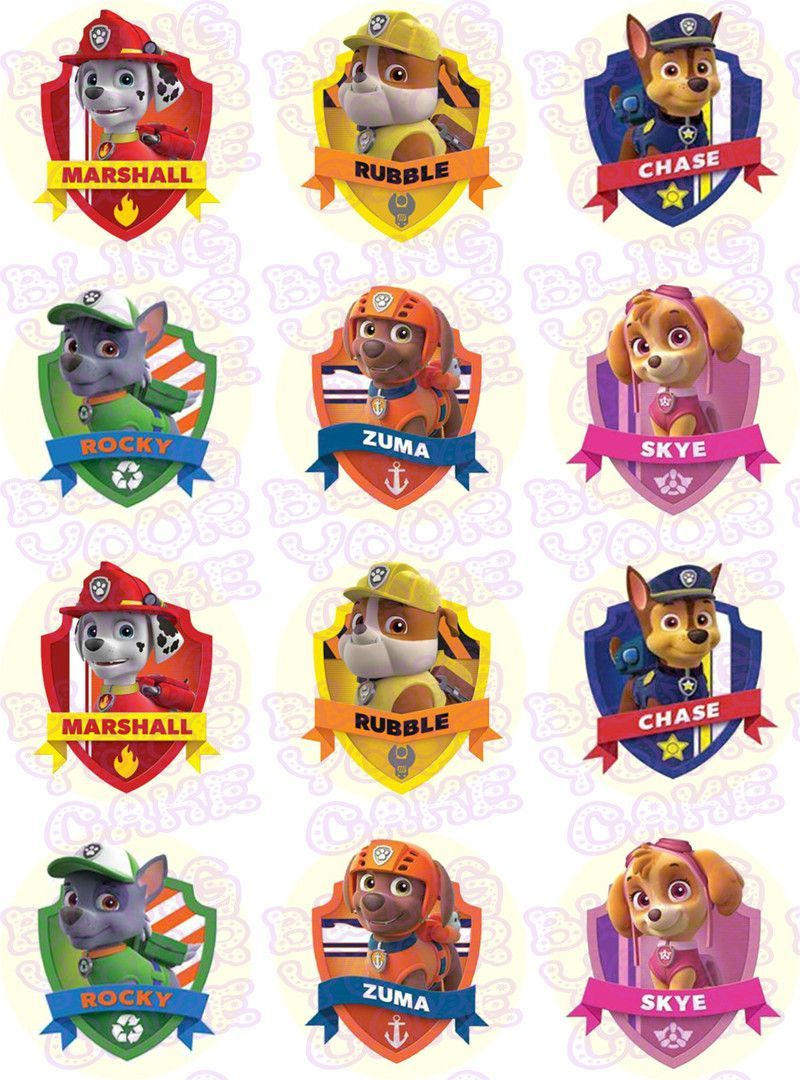 Paw Patrol Shield-Inspired Edible Icing Cupcake or Cookie Decor ...