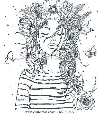 Beautiful Portrait Of Woman With Flowers Ideias Esboco Desenhos