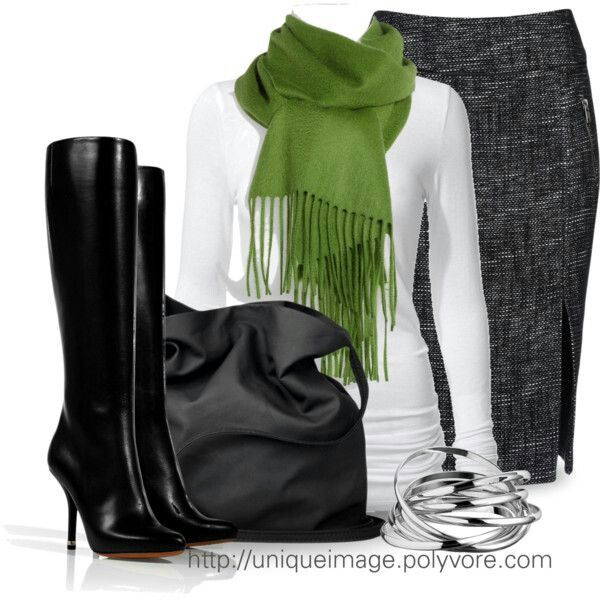 Love this outfit!!! Cute and simple.. Black boots, grey tweed pencil skirt, and white t-shirt with scarf!!! Love!