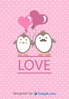 Cartoon Penguins Couple in Love Valentines Day Card Free Vector