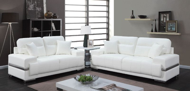 Cm6411wh 2 Pc Zibak White Breathable Leatherette Modern Style Sofa And Love Seat White Leather Sofas White Leather Couch White Furniture Living Room