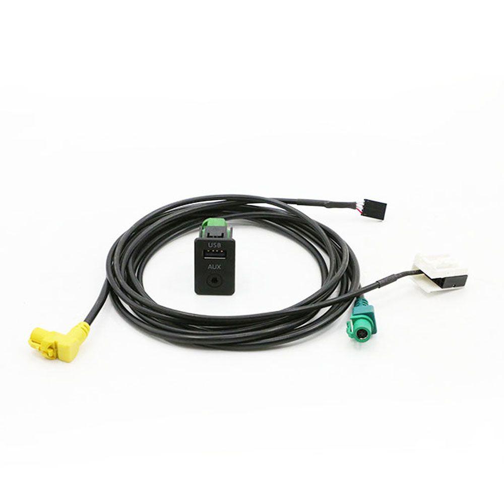 Car AUX USB Audio Cable Switch Plug Button For VW Passat