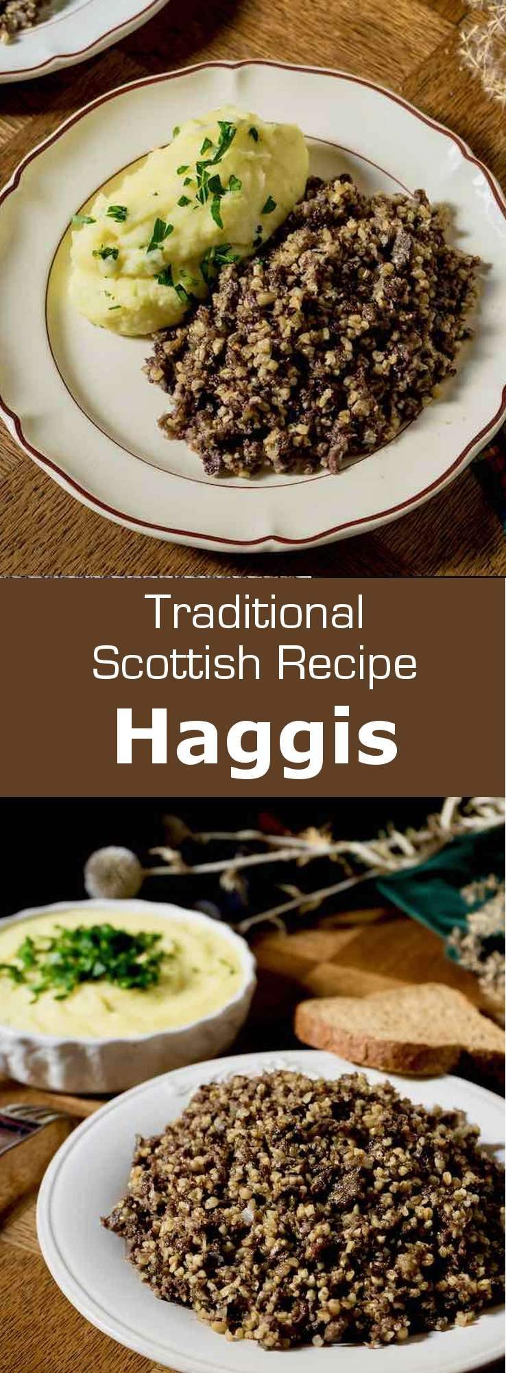 Haggis is a traditional Scottish dish consisting of seasoned and spiced minced sheep's pluck cooked