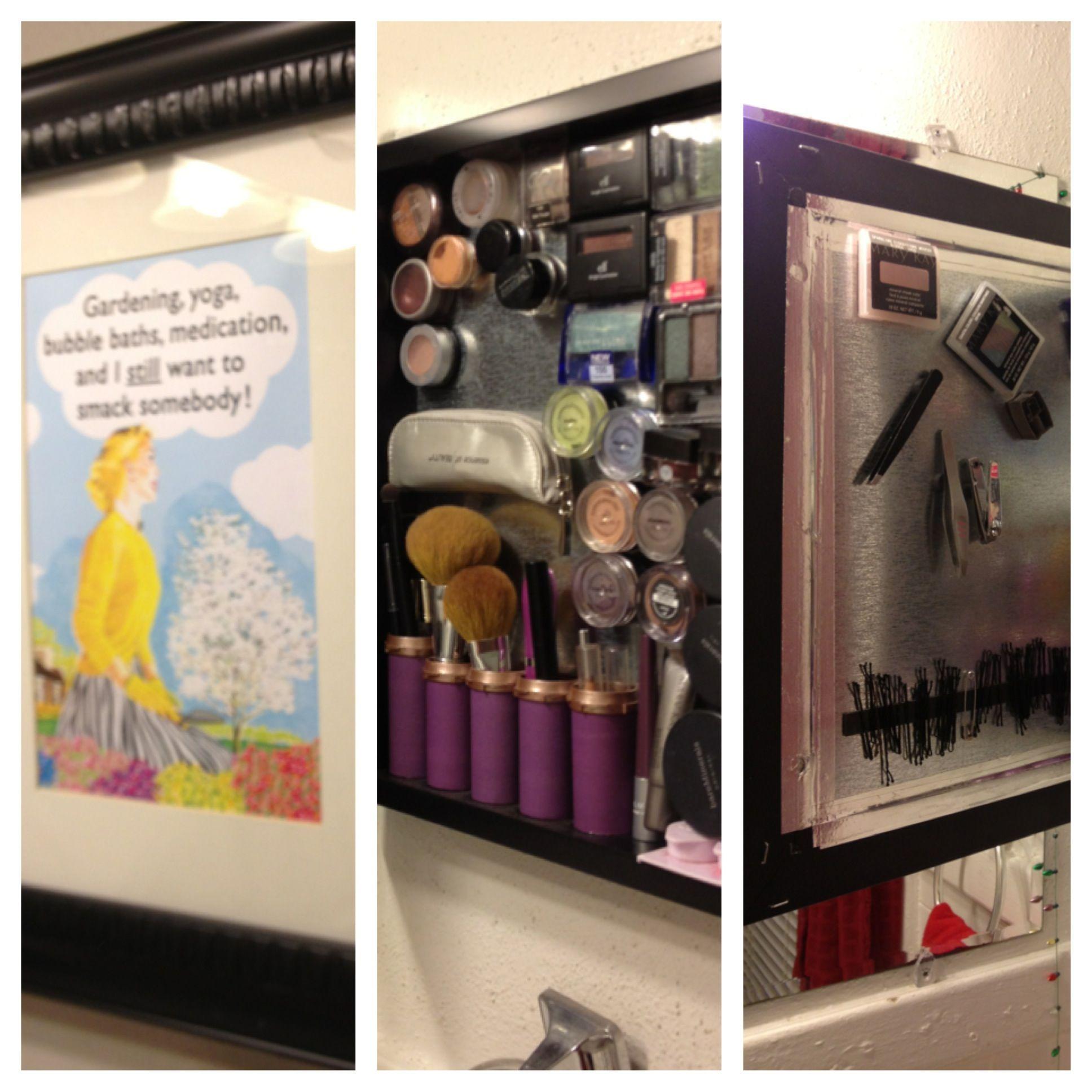 shadow box turned makeup board | School Project Ideas | Pinterest