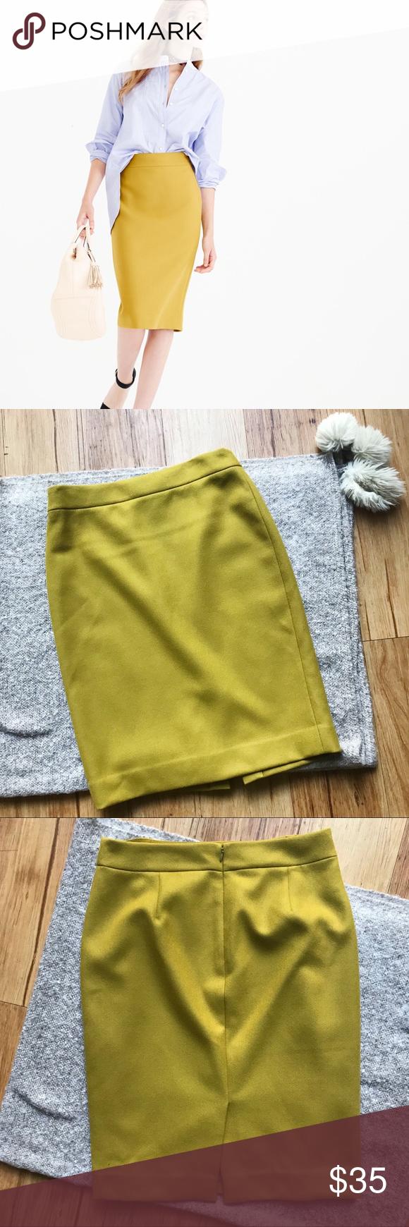 c3802021d J.Crew No.2 Pencil chartreuse yellow wool skirt 10 Classic chartreuse  yellow wool