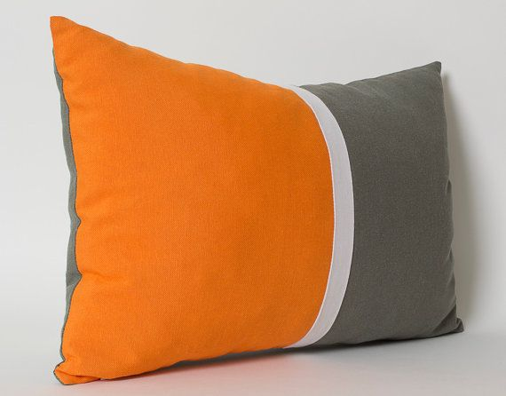 Orange White Gray Lumbar Pillow Cover CUSTOM SIZES Sofa Cushion Decorative  Pillows Throw Pillows Couch