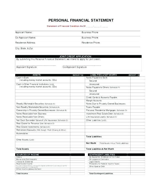 Free Statement Of Account Template Bank Secured Loan