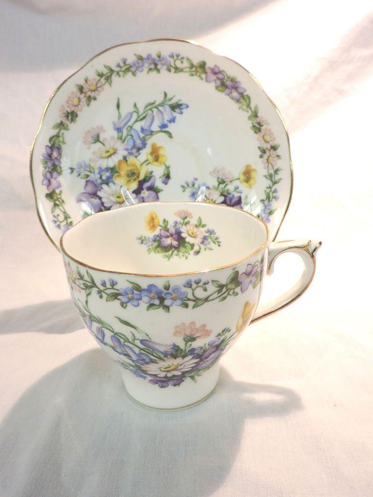 Roslyn China - England - GARLAND Tea Cup \u0026 Saucer - Blue \u0026 Purple Flowers # & Roslyn China - England - GARLAND Tea Cup \u0026 Saucer - Blue \u0026 Purple ...