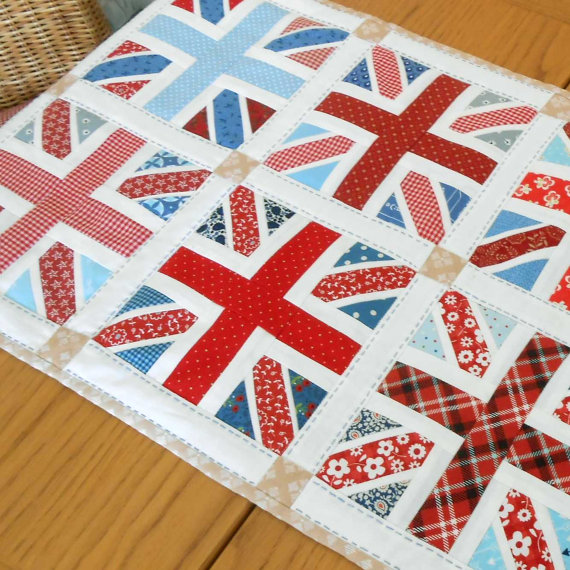 Union Jack Patchwork Block and Table Runner Pattern by Patchsmith