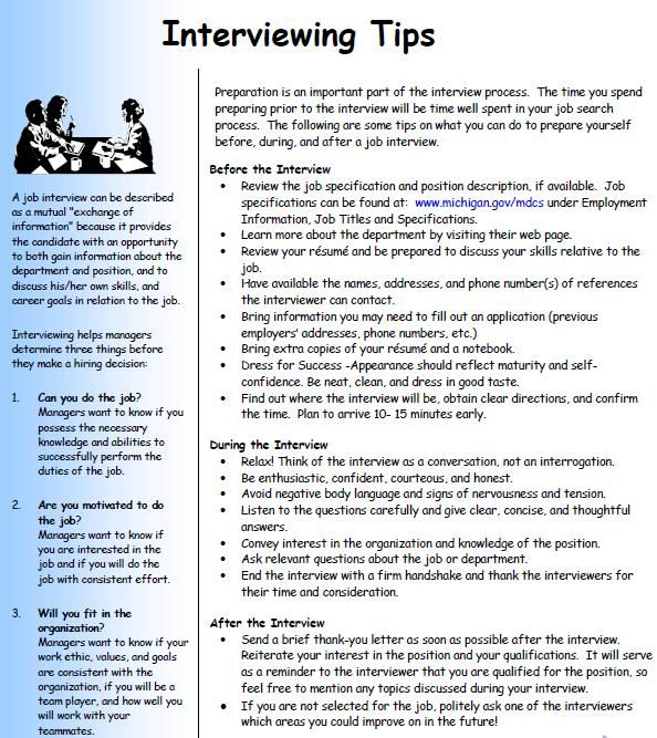 Excellent list of chronological Interview Tips ** Note Review again