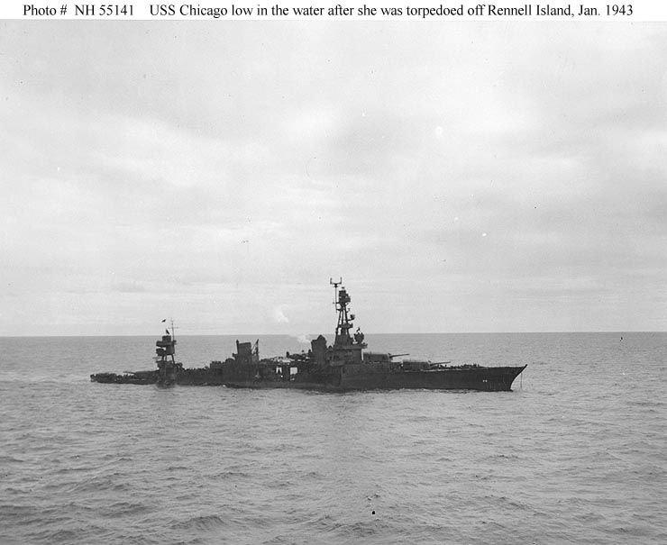 Uss Chicago Ca 29 Shown Down Hard By The Stern And Sinking On January 30 1943 After Being Struck By 6 Torpedoes In Two D Us Navy Ships Naval History Warship