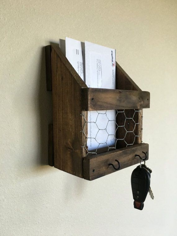 Very Rustic mail and key holder. Distressed. Chicken wire front and two  FS53