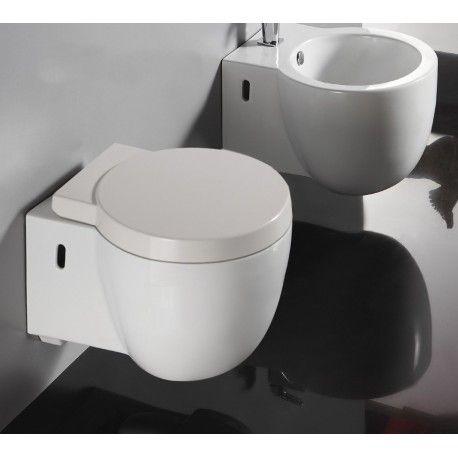 Wc Suspendu Compact 50x40 Cm Blanc Avec Abattant Charm