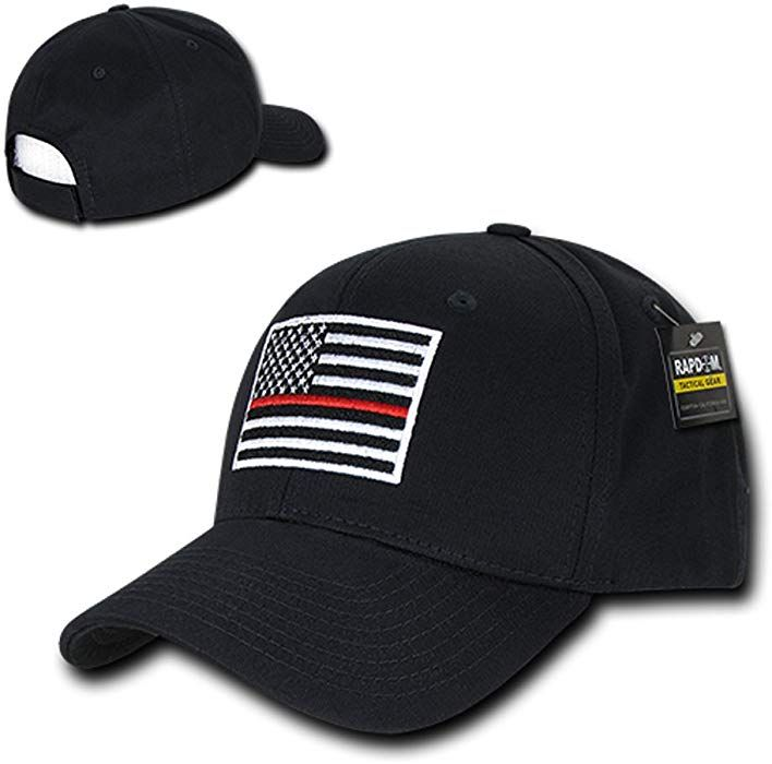 59cd14f628f Rap Dom USA American Flag Embroidered 6 Panel Adjustable Operator Cap -  Thin Red Line - Black at Amazon Men s Clothing store