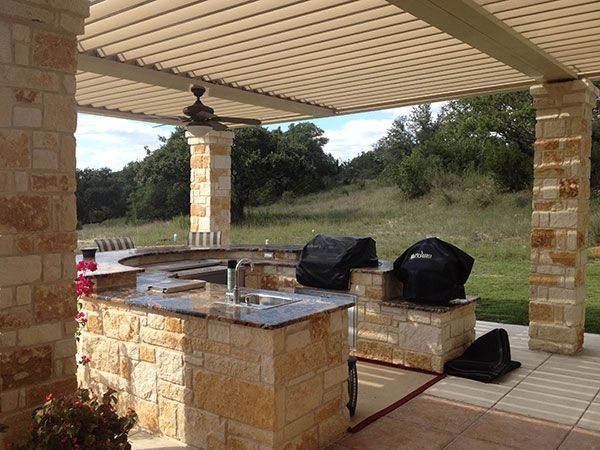 Grilling Station Outdoor Kitchen With Louvered Roof To