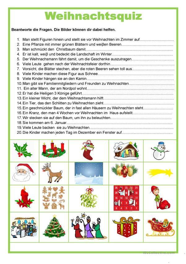 Weihnachten - Quiz | DEUTSCH | Pinterest | Worksheets